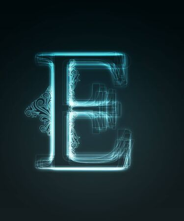 Glowing neon letter with floral decoration on black background. photo