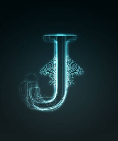 Glowing neon letter with floral decoration on black background. Stock Photo - 6477495