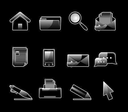 Set of 12 glossy web icons. Shopping, business and money icon set. Part 1. (see other in my portfolio) Stock Vector - 6524373
