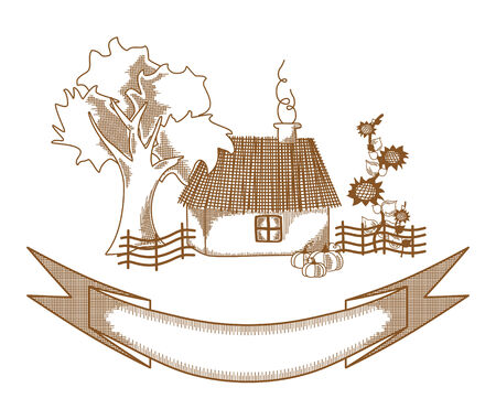 Village house. Drawing sketch vector illustration of rural home. Vector