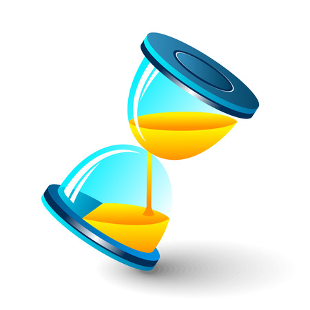 sand timer: Sun-dials. illustration of modern sand-glass. Isolated.