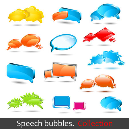 Speech bubbles. Set of high quality 3d element. Stock Vector - 6729125