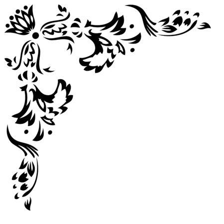 element for design: Element for design. Corner. Retro floral patterns.