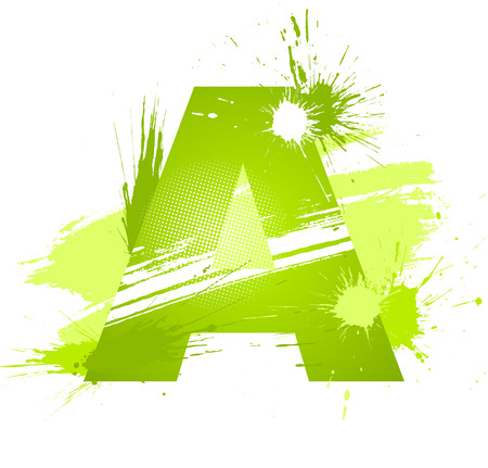 Green abstract paint splashes font. Letter A. Vector