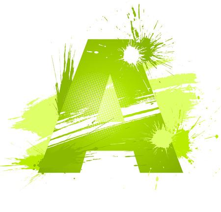 alphabet graffiti: Peinture abstraite vert transformer la police. Lettre a.