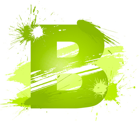 Green abstract paint splashes font. Letter B. Vector