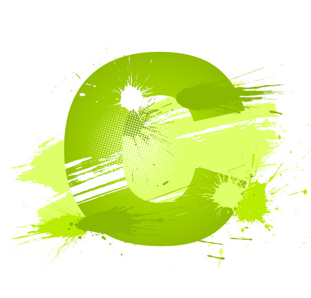 Green abstract paint splashes font. Letter C.  Vector