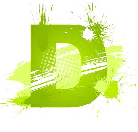 Green abstract paint splashes font. Letter D. Vector