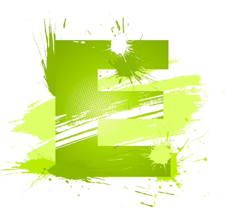 Green abstract paint splashes font. Letter E. Vector