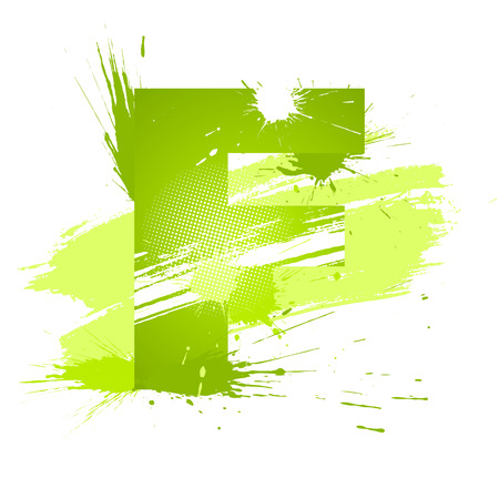 Green abstract paint splashes font. Letter F.  Vector