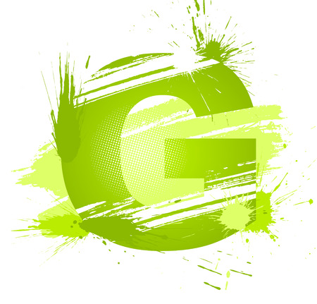 Green abstract paint splashes font. Letter G.  Vector