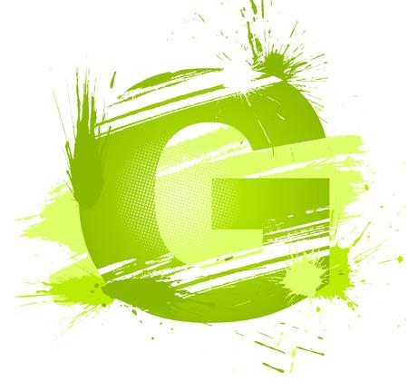 alfabeto graffiti: Verde vernice astratta spruzzi di carattere. Lettera g.