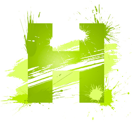 Green abstract paint splashes font. Letter H. Vector