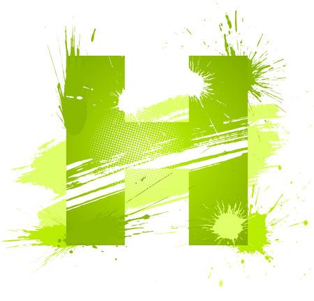 abecedario graffiti: Verde de la pintura abstracta protecci�n fuente. Letra H. Vectores