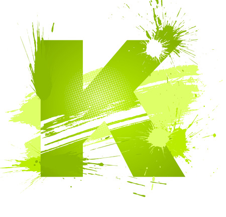 Green abstract paint splashes font. Letter K.  Vector