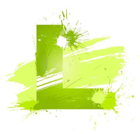 Green abstract paint splashes font. Letter L.   Vector