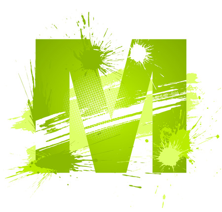 Green abstract paint splashes font. Letter M.  Vector