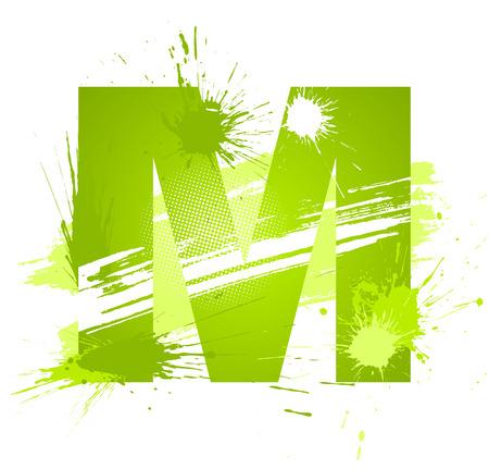 alfabeto graffiti: Verde vernice astratta schizza il tipo di carattere. Lettera M.  Vettoriali