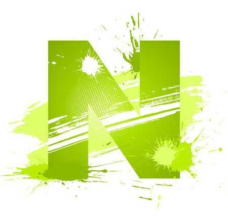 Green abstract paint splashes font. Letter N. Vector