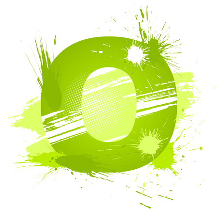 Green abstract paint splashes font. Letter O. Vector