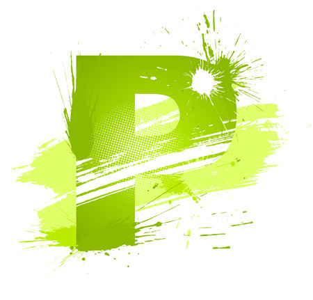 alphanumeric: Green abstract paint splashes font. Letter P.