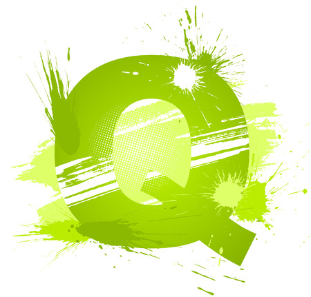 Green abstract paint splashes font. Letter Q.  Vector