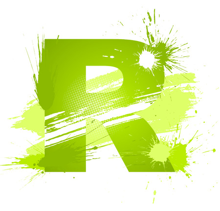 write a letter: Green abstract paint splashes font. Letter R.