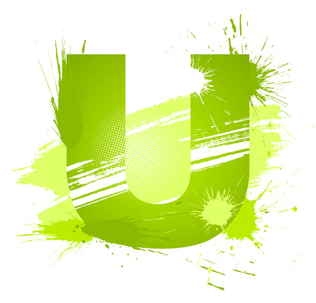 Green abstract paint splashes font. Letter U. Vector