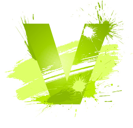 Green abstract paint splashes font. Letter V.  Vector