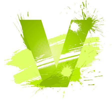 letter v: Green abstract paint splashes font. Letter V.  Illustration