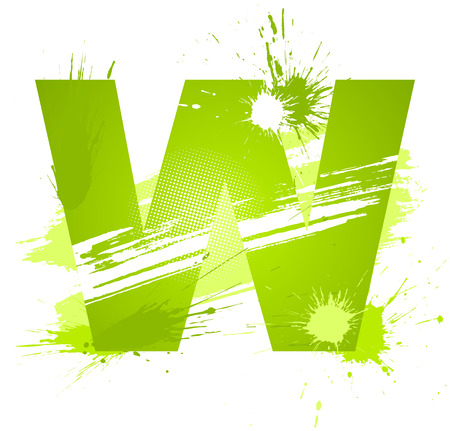 Green abstract paint splashes font. Letter W. Vector