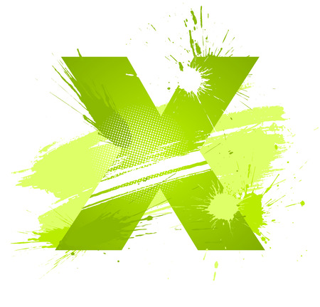 Green abstract paint splashes font. Letter X.  Vector