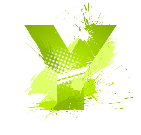 Green abstract paint splashes font. Letter Y.  Vector