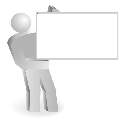 Man with empty board. Modern illustration. Holding blank sign. Vector