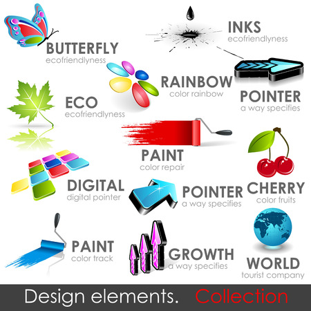 specifies: Design elements collection. high quality 3d icons. Illustration