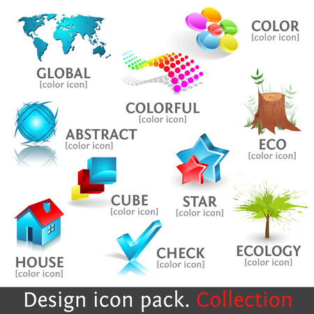 stump: Design 3d color icon set. Collection.  high quality icons.