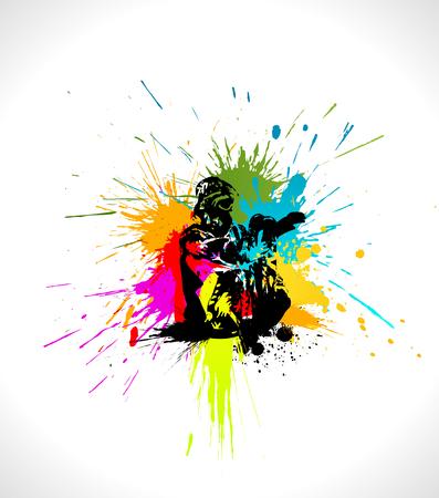 ink spot: Ski artwork.  illustration of skier in splashes. Illustration