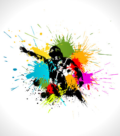 splats: Ski artwork. Vector illustration of skier in splashes.