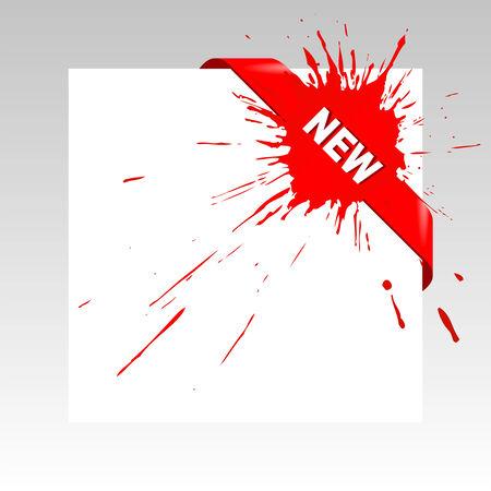 druckerei: Red paint splash corner business ribbon.