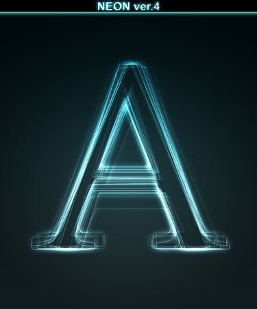 Glowing neon font. Shiny letter A on black background. photo