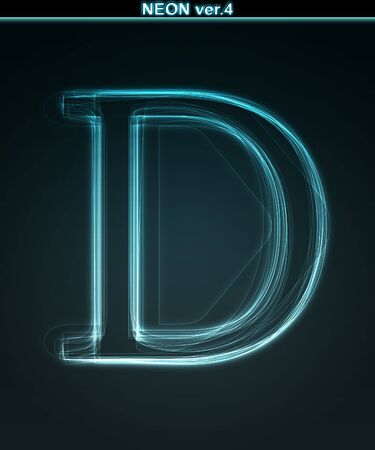 Glowing neon font. Shiny letter D on black background. photo