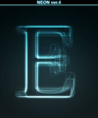 Glowing neon font. Shiny letter E on black background. Stock Photo - 7184402