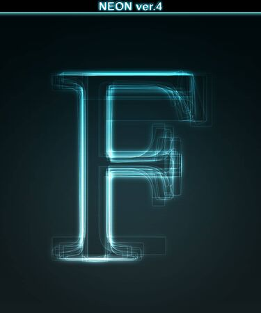 Glowing neon font. Shiny letter F on black background. photo