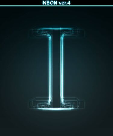 alphanumeric: Glowing neon font. Shiny letter I on black background.