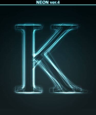 Glowing neon font. Shiny letter K on black background. photo