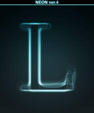 l dynamic: Glowing neon font. Shiny letter L on black background.