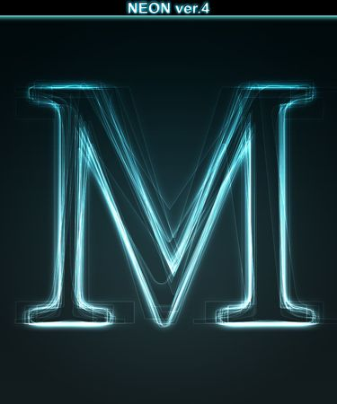 Glowing neon font. Shiny letter M on black background. photo
