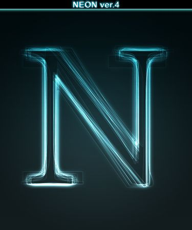 letter n: Glowing neon font. Shiny letter N on black background.