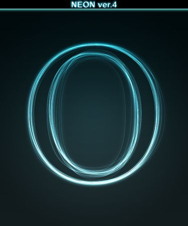 alphanumeric: Glowing neon font. Shiny letter O on black background. Stock Photo
