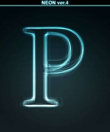 Glowing neon font. Shiny letter P on black background. photo